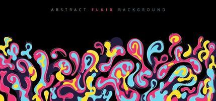 abstracte vloeistof of vloeibare kleurrijke plons op zwarte achtergrond. vector