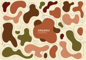 set van abstracte organische vormen aarde toon kleuren hedendaagse kunst. hand getrokken collage ontwerpelementen vector