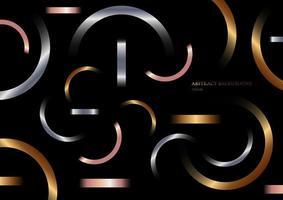 abstracte geometrische metalen gradiëntvormen samenstelling gouden, zilver, roze goud op zwarte achtergrond vector