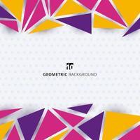 abstracte sjabloon moderne stijl kleurrijke geometrische driehoeken patroon op polka dot witte achtergrond. vector