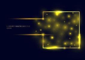 abstract goud glitter sparkle trail effect gloeiende magische vierkante framevorm op donkerblauwe achtergrond