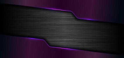 3D-banner websjabloon geometrische paarse gloed glanzend metallic op zwarte metalen achtergrond en textuur
