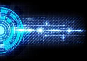 abstract futuristisch overdracht digitaal datanetwerk om concept te centreren. blauwe cirkel hallo snelheid internet technologie achtergrond