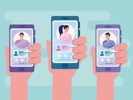 online dating service applicatie met handen met smartphone