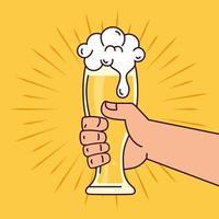 internationale bierdagviering met hand met een bierglas vector