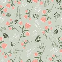 vintage naadloze bloemmotief. stofontwerp met eenvoudige bloemen. vector