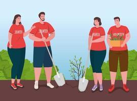 vrijwilligersmensen die een boom planten, ecologie levensstijl concept vector