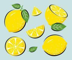 gele citroen met bladeren vectorillustratie