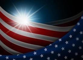 Amerikaanse of Amerikaanse vlag met lichte vectorillustratie als achtergrond