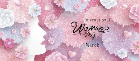 8 maart internationale Vrouwendag conceptontwerp van vrouw en bloemen vectorillustratie