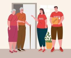 vrijwilligersmensen met oud echtpaar, liefdadigheids- en sociale zorgdonatieconcept