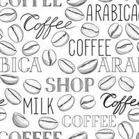 koffie naadloze patroon. koffiebonen en belettering koffie handgetekende achtergrond
