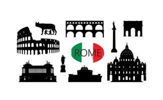rome reizen landmark set. Italiaanse beroemde plaatsen silhouet pictogrammen. vector