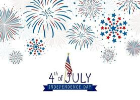 4 juli ontwerp van de onafhankelijkheidsdag van de vs van vuurwerk op witte vectorillustratie als achtergrond