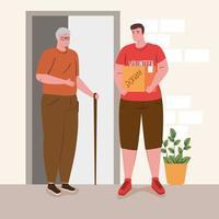 vrijwilliger man helpt een oude man met boodschappen