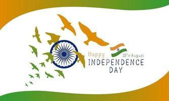 15 augustus india onafhankelijkheidsdag ontwerp van vogels op witte achtergrond vectorillustratie