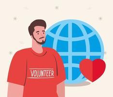 vrijwilliger man met globe en hart, liefdadigheid en sociale zorg donatie concept