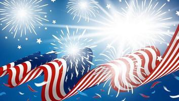 4 juli ontwerp van de banner van de onafhankelijkheidsdag van Amerikaanse vlag met vuurwerk op blauwe vectorillustratie als achtergrond