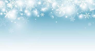 Kerstmis achtergrondontwerp van sneeuwvlok en bokeh met lichteffect vectorillustratie vector