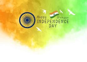 15 augustus india onafhankelijkheidsdag ontwerp van aquarel textuur op witte achtergrond vectorillustratie