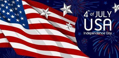 4 juli usa onafhankelijkheidsdag banner vectorillustratie