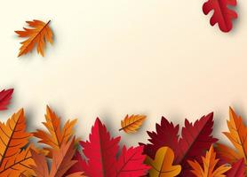herfstbladeren achtergrondontwerp met kopie ruimte vectorillustratie