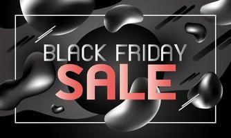 zwarte vrijdag verkoop bannerontwerp van vloeibare effect achtergrond vectorillustratie