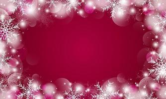 Kerst achtergrondontwerp van sneeuwvlokken en bokeh lichten vectorillustratie