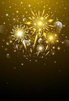 gelukkig nieuwjaar ontwerp van gouden vuurwerk 's nachts vectorillustratie