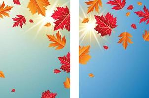 herfstbladeren met zonlicht achtergrond vectorillustratie