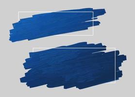 blauwe penseelstreek en lijnkader met exemplaar ruimte vectorillustratie