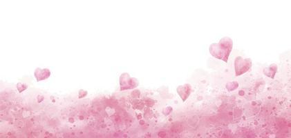 Valentijnsdag en bruiloft achtergrondontwerp van aquarel harten vectorillustratie