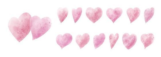 aquarel harten op witte achtergrond vectorillustratie
