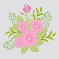 roze bloemen met takken en bladeren voor natuurdecoratie