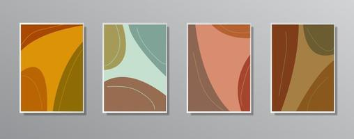 set van creatieve minimalistische hand getrokken vintage neutrale kleurenillustraties