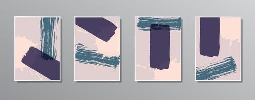 set van creatieve minimalistische hand getrokken vintage neutrale kleurenillustraties vector