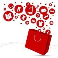 boodschappentas en mode-pictogram ontwerp vectorillustratie
