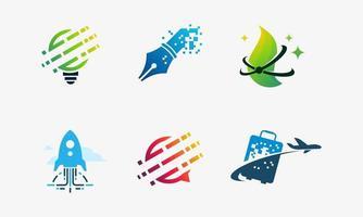 set van technologiepictogrammen inclusief tech-lamp, pixelpen en natuurtechnologie