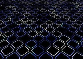 abstracte blauwe geometrische vierkante afgeronde hoek textuur. creatief patroonperspectief op zwarte achtergrond. vector