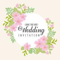 wenskaart met bloemen krans voor bruiloft uitnodiging vector