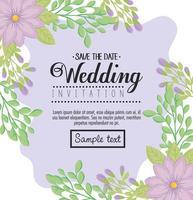 bloemen wenskaart met bloemen voor bruiloft uitnodiging vector