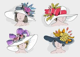 Vintage Kentucky Derby Hat Hand getrokken vectorillustratie