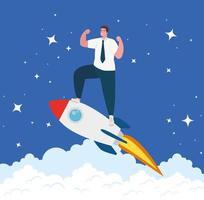 opstarten bedrijfsconcept banner met zakenman op een raket