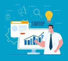 opstarten bedrijfsconceptenbanner met zakenman en computer vector