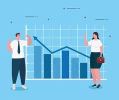 opstarten bedrijfsconcept banner met ondernemers en infograph vector