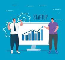 opstarten bedrijfsconcept banner met zakenlieden vector