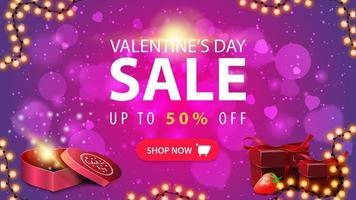 Valentijnsdag verkoop, tot 50 korting, roze korting webbanner met slingerframe, cadeautjes en knop vector