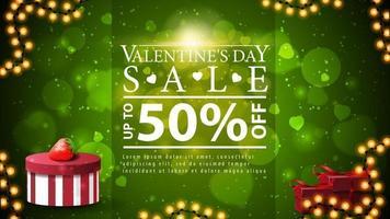 Valentijnsdagverkoop, tot 50 korting, groene kortingsbanner met slingerframe, geschenken en onscherpe achtergrond vector