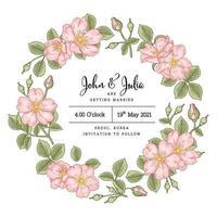 uitnodiging kaartsjabloon. roze hondsroos bloem schets hand getrokken botanische illustraties vector
