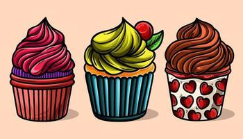 voedsel zoete smakelijke desserts realistische cupcakes met verschillende vullingen assortiment geïsoleerde set